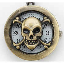 Corrente + Relógio Caveira Liga De Metal Cor Ouro Velho