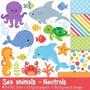 Kit Para Scrapbook Digital Fundo Do Mar #3 Envio Imediato