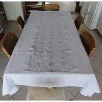 Linda Toalha De Mesa Em Crochê Com Tecido Piquet - Branca