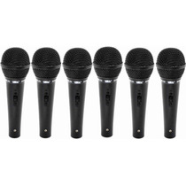 Kit 6 Microfone Fio Simples Unidirecional Jwl 4m Shure Sm22