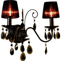 Luminária Arandela Cristal Bronzearte Versailles Onix 2 Luz