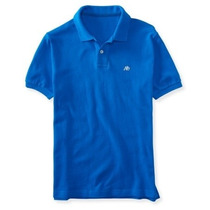 Polo Aeropostale - A87 Solid Logo Piqué Polo Blue Hawaii