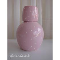 Moringa Com Copo Porcelana Cerâmica Floral Bebê Póa