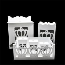 Kit Bebê Coroa (6 Peças) Branco Mdf Laser