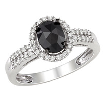Oval Black And White And Round Diamond Ring 1.0 Carat (ctw)