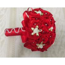 Buquê. Bouquet De Noiva Artificial Vermelho C Perolas Brochê