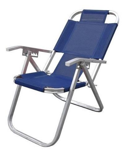 Cadeira De Praia Alumínio Alta Ipanema Azul Royal - Botafogo