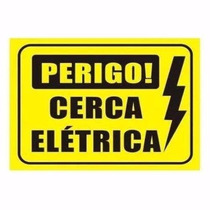 Placa Advertência: Perigo Cerca Elétrica Plástico