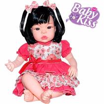 Boneca Estilo Reborn Baby Kiss Menina Real Bebe C/ Som Fala