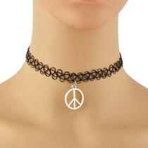 Gargantilha Tattoo Choker Simbolo Da Pa Paz Peace
