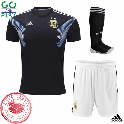 6fcb19d68d Camisa Argentina Infantil Unif. 2 18 19 Frete Grátis - R  139 en ...