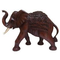 Escultura Elefante Em Madeira Suar 30x40cm - Artesanato Bali