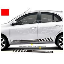 Acessórios Para Nissan March Kit Faixa Lateral Tuning Carro