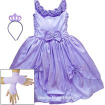 Vestido Princesa Sofia Rapunzel Festa Infantil Com Kit à