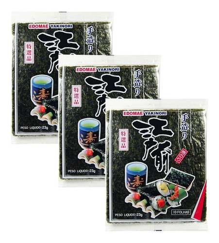 30 Folhas Alga Marinha Nori Edomae Temaki Hot Sushi Hachi8