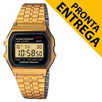 Relógio Cassio Unissex Retrô Vintage Dourado Pronta Entrega