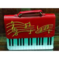 Bolsa Musica Piano Couro Red 1 Ano De Garantia Sedex Grátis