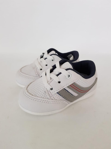 5479a78a896 Tenis Infantil Masculino Baby Branco cinza azul