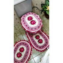 Jogo De Tapetes P/banheiro Rosas Crochê Feito À Mão 3pç