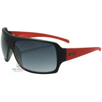 Óculos De Sol Secret Layback Preto Fosco E Vermelho Original