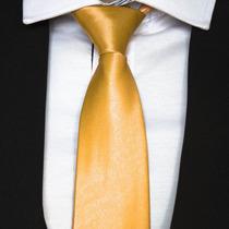 Gravata Dourada Semi Slim