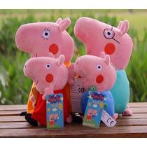 Peppa Pig E Família De Pelúcia 4 Personagens Frete Grátis