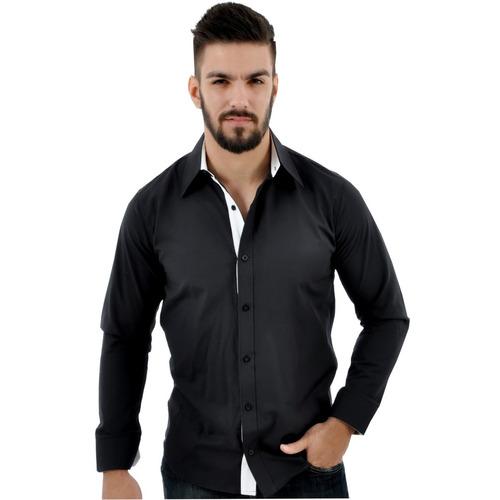Camisa Camiseta Social Masculina Slim Tricoline Casamento