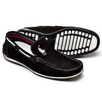 Mocassim Masculino Docksider Polo Black Sapato Drive Forro