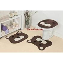 Jogo De Tapete Para Banheiro Urso Ursinho 3 Peças Em Pelúcia