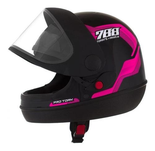 Capacete Para Moto Integral Pro Tork Sport Moto 788 Rosa Tamanho 58