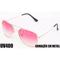 Óculos Feminino De Sol Estilo Aviador Uv400 Lente Rosa