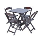 Jogos De Mesas Bar 70x70 C/ 4 Cadeiras Em Madeira Megamoveis
