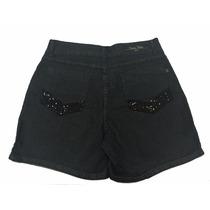 Short Feminino Preto Com Elastano Plus Size Paetê Nos Bolsos