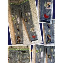 Calça Jeans 38 Patchwork Retalhos E Apliques Recycled R.i.19