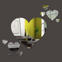 Kit Com 6 Espelhos Decorativos Casa Quarto Sala - Coração