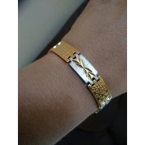Pulseira Masculina Bracelete Aço Inox Dourada C/ Pratiada
