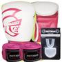 Kit Boxe Training Pretorian -10 Oz Branco E Pink