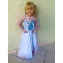 Fantasia Vestido Luxo Frozen Elsa E Anna Principe P. Entrega