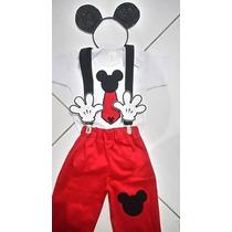 Fantasia Mickey (camiseta +calça +arquinho+suspensório)