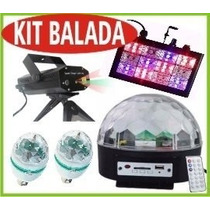 Kit Iluminação Festa 5x1 Proj Laser Magic Bol Strobo Bola