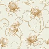 Papel De Parede Autocolante Floral Com Detalhes Em Bege