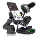 Kit Suporte Celular Gps Carregador Carro Automotivo Veicular