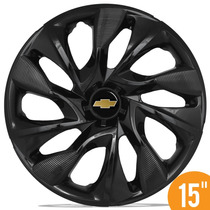 Calota Esportiva 15 Ds4 Black Preta Gm Onix Novo Prisma Spin
