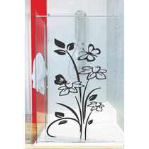 Adesivo Decorativo Parede Floral Box Banheiro Porta Vidro