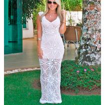 Vestido Longo Crochê Tricot Moda Famosas Branco Praia