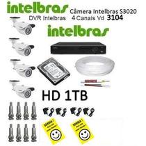 Kit Intelbras Dvr 4 Canais + 4 Câmeras Intelbras + Hd 1tb