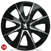Jogo Calota Aro 14 Espor Black Chrome Peugeot 206 207 Hoggar