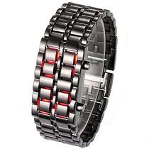 Relógio Led De Pulso Exclusivo Bracelete Preto Lava Iron