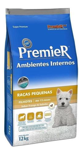 Ração Premier Ambientes Internos Super Premium Cachorro Filhote Raça Pequena Frango/salmão 12kg