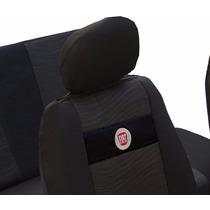 Capas Banco Em Tecido Original Preta Com Logo Da Fiat